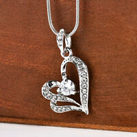 Fashion Women Silver Heart Crystal Rhinestone Chain Pendant Necklace Jewelry