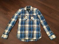 Superdry Black Label Blue Checkered Long Sleeve Front Button Shirt Men's Size M
