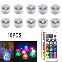10PCS RGB Remote Control Colorful Waterproof LED Candle Light Lamp Underwater 3C