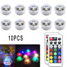 10PCS RGB Remote Control Colorful Waterproof LED Candle Light Lamp Underwater M&