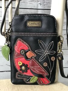 CHALA Small Cardinal Cell Phone Case Faux Leather Black & Red Crossbody EUC!