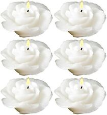 Biedermann & Sons Floating Rose Candle, White, Set of 6 (C7808NWT)