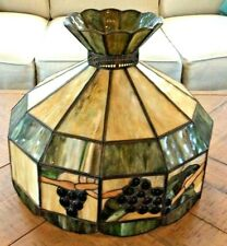 Vintage large Tiffany style 12 sided stained slag glass lamp shade - EXC