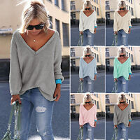 Womens V-Neck Knitted Oversized Casual Sweater Knitwear Jumper Blouse Loose Tops