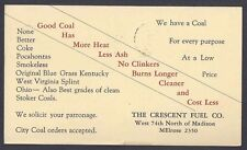 1940 CRESCENT FUEL CO ORDERS FOR COKE, COAL ETC, CLEVELAND OH