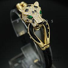 Leopard Head Leather Bracelet Green Eye CZ Animal Cat Jewelry Jaguar Gold
