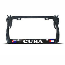 BLACK Metal PALM TREE CUBAN FLAG TROPICAL License Plate Frame CUBA Tag Border