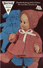 DOUBLE KNITTING PATTERN COPY TO KNIT BABY DOLL OUTFIT -  VINTAGE 1950'S -