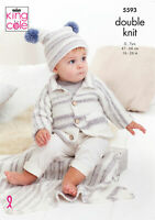 King Cole Baby DK Double Knit Knitting Pattern Cardigan Hat & Blanket 5593