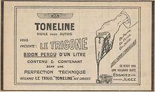 Y7278 Huile pour autos TONELINE - Pubblicità d'epoca - 1928 Old advertising