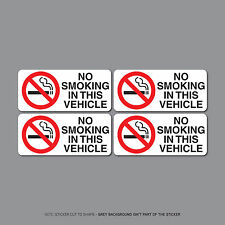 SKU2513 - Pack Of Four No Smoking In Vehicle Taxi Vinyl Stickers - 48mm x 108mm
