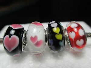 4 Pandora Silver 925 Ale Wild Heart Red Sweetheart Love Family Glass Beads Charm