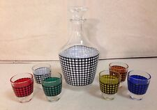 FRANCE MID-CENTURY WHISKEY DECANTER WITH 6 GLASSES