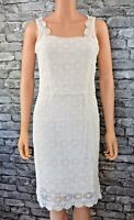 New Women's Elegant Ivory White Cotton Guipure Lace Sleeveless Dress UK Size 8