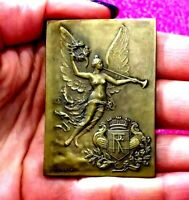 1928-29 Paris Nude French Angel Art Deco bronze medal by Delpuch 50mm /Judaica