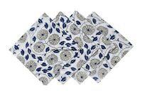Hand Block Print Floral Napkins Table Linen Cotton Beautiful Blue White 4pc set