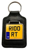 R100 RT Reg (GB) Cherished Number Plate Leather Keyring for BMW R100RT  Owners