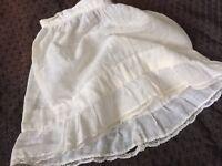 A44 Antique Doll Slip Petticoat Skirt Cotton Primitives Teddy Bears Underwear