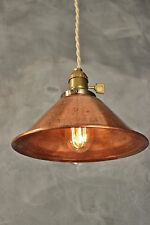 Weathered Copper Pendant Lamp - Vintage Industrial Hanging Light