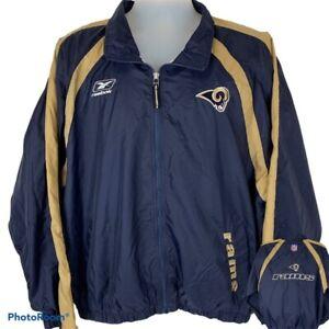 Los Angeles Rams Reebok Large Windbreaker Jacket NFL Football Blue Gold Zip Up