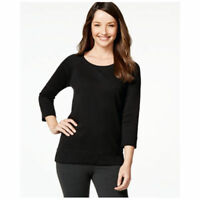 Style & Co. Women's 3/4 Sleeves Solid Sweatshirt Deep Black Medium Size