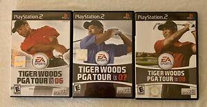 TIGER WOODS PGA TOUR PLAYSTATION 2 VIDEO GAME LOT OF 3 TOUR '06 '07 '08