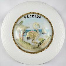 """VINTAGE Assiette GLOBE Coquillages """"Souvenir de FLORIDE"""" Florida/shell/tiki 60s"""
