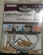 Cable Photo & Card Holder w/ 8 Tiny Wooden Clothes Pins Dorm Room Decor