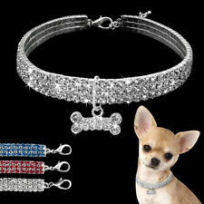 Bling Rhinestone Dog Collars Necklace &Diamante Bone Pendant for Small Dogs S-L