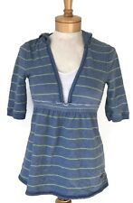 Hollister Women's Hoodie Medium Blue Green Striped Open Neck