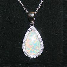 Created Opal Diamond Alternatives Pendant Necklace 14k White Gold over 925 SS