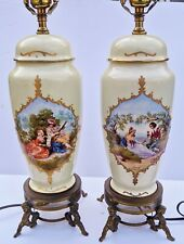 PAIR Antique ROYAL VIENNA Style PORCELAIN Courting Scenes URN Vases as LAMPS