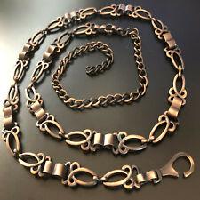 Cintura donna in metallo color bronzo fine ed elegante catena 110 cm
