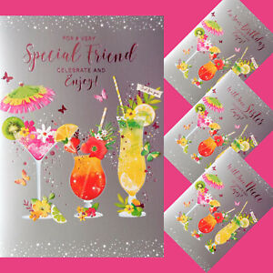 Female Birthday Card Open / Special Friend / Niece / Sister  Cocktail Party Fun