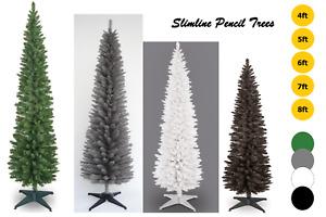 4 5 6 7 8ft GREEN, GREY, WHITE & BLACK PENCIL CHRISTMAS TREE SLIM SLIMLINE
