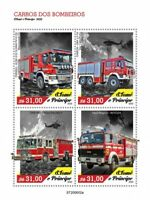 Sao Tome & Principe Fire Engines Stamps 2020 MNH Iveco Scania Trucks 4v M/S