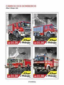 Sao Tome & Principe Fire Engines Stamps 2020 MNH Iveco Scania Trucks 4v M/S