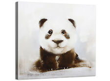 Black and White Panda Cub - Bedroom Animal Canvas Art - 48cm Square - 1s250m
