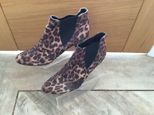 Ladies Marks And Spencer Leopard Print Ankle Boots Size 6
