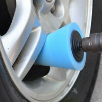 1x Cone Shaped Polishing Sponge Tool Fit For Automobile Wheel Hub Blue Uinversal