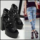 New Womens Open TOE Platform High Chunky Heels Roman Sandals SUMMER Buckle Shoes