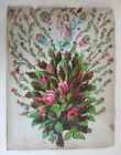 CHROMO ANCIEN, grand bouquet, rose, enfant, planche découpis, DECOUPIS