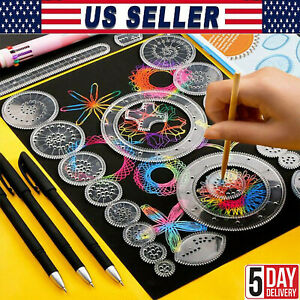 27 xTin Draw Drawing Art Original Spirographh Design Set Craft Create Kids Toy