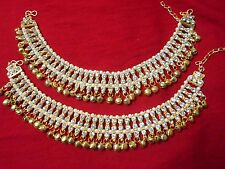 Indian Bead Ankle Bracelet Pearl Anklet Payal Ghungroo Gold Tone Jewelry