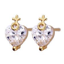 18 k Gold Plated Stud Earrings for Small Girls or Women White Zircon Heart E726