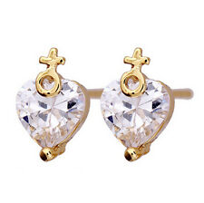 Designer Valentines Day cross Ladies Earrings Clear Stone Women Studs E726