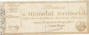 250 FRANCS VERY FINE NOTE FROM FRENCH REVOLUTION 1796 PICK-A85 RARE
