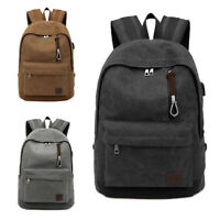 Unisex Canvas Backpack Laptop NoteBook USB Charging Student Travel School Bag