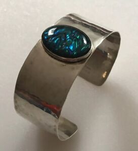Sterling Silver Abalone Shell Cuff Bangle Bracelet Hammered Marked