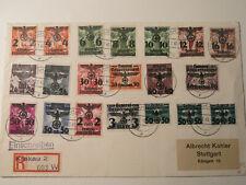 Generalgvouvernement , Ganzsache, Brief mit 20 Werten, gestempelt in Krakau
